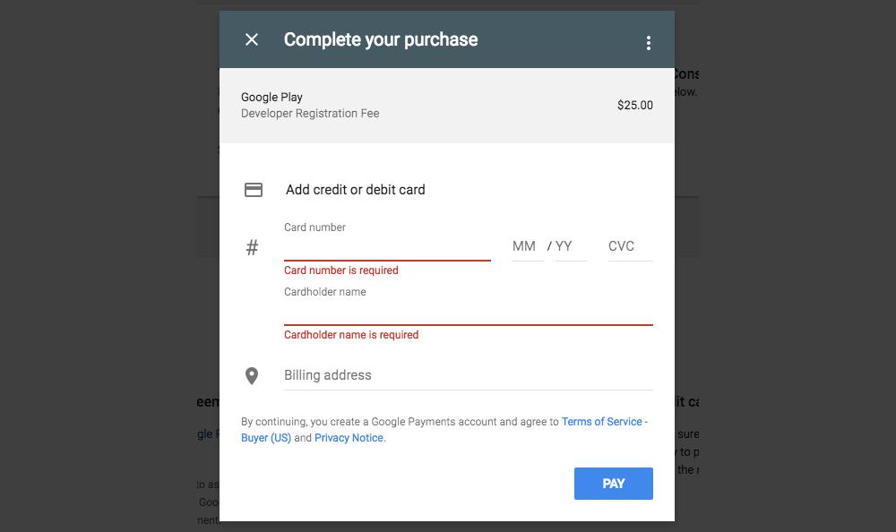 مرحله ششم ساخت اکانت دولوپر گوگل
